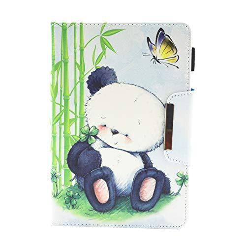 HereMore Universal Hülle Glitzer für 9-10.1 Zoll Tablet - Stand Folio Case Schutzhülle für iPad 2018/iPad Air, Samsung Galaxy Tab A 10.1/Tab S4 10.5, Asus ZenPad 10, Lenovo Tab4 10/TB-X103F/Tab 2 A10-70, Huawei MediaPad T5 10/M5 Lite 10 Tablet -Panda und Schmetterling