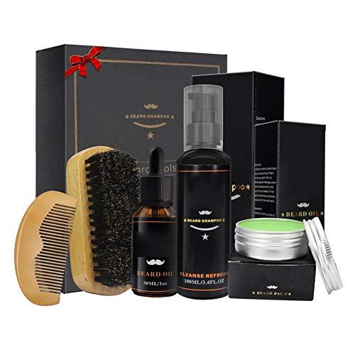 PanDaDa 5PCS Kits Soins de Barbe Huiles à Barbe 100% Naturel Organique Baume Peigne Brosse Ciseaux pour Barbes Moustaches Cadeau Anniversaire Noël Fête pour Homme
