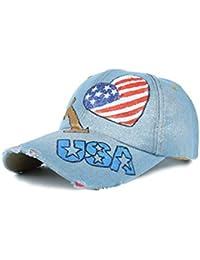 Weimilon Unisex Classic Vintage I Americana Bandera Estampado USA Love con  Estilo único Washed Denim Gorra b699d9be86b