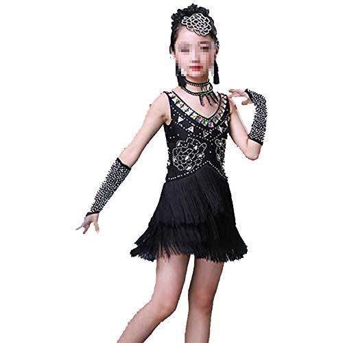 Cvbndfe Weich Mädchen Latin Dance Dress Kinder Kinder Pailletten Fransen Bühnen Performance Wettbewerb Ballroom Dance Kostüm (Farbe : Schwarz, Größe : 120cm) (Kinder Kostüm Wettbewerb)