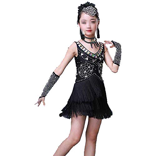 Kind Schwarz Pailletten Flapper Kostüm - Cvbndfe Weich Mädchen Latin Dance Dress
