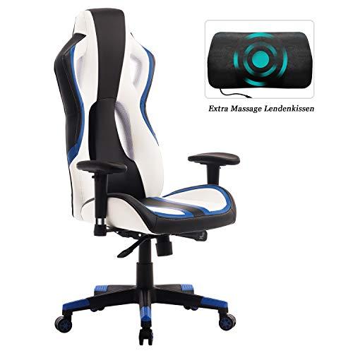Wolmics Gaming Stuhl Rennstil PU-Leder mit hoher Rückenlehne Bürostuhl PC-Schreibtischstuhl Executive und Ergonomischer Drehstuhl (9017 Blau)