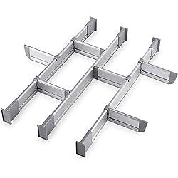 Organisateur ajustable de tiroir | 9 séparateurs de tiroir (3 longs + 6 courts), Petit 39-44,5 cm de profondeur | Ajustable, élégant, pour une cuisine, un bureau ou une clinique sans fouillis