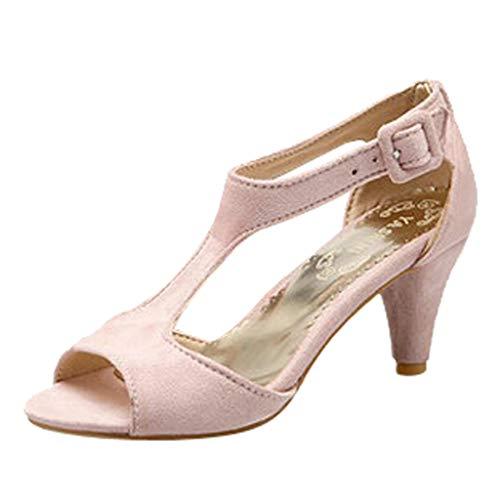AIni Damen Schuhe Beiläufiges Mode Elegant Sommer Sandalen Der hohe Absätze Der Art und Weisefrauen Gürtelschnalle Sandalen Fisch Mund Schuhe Strand Partyschuhe Freizeitschuhe(40,Rosa)