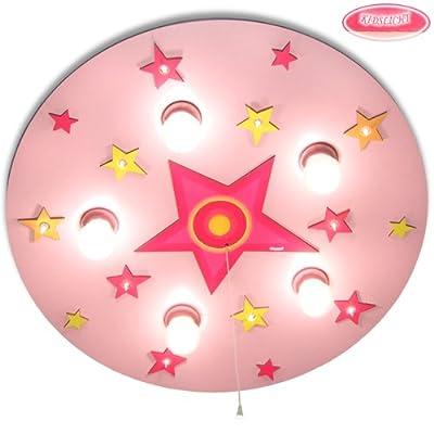 Kinderlampe Kreis mit Stern mit Nachtlicht (Rosa) Deckenlampen Kinderzimmerlampen Deckenleuchte Babyleuchte Babylampe von KIDSLICHT auf Lampenhans.de