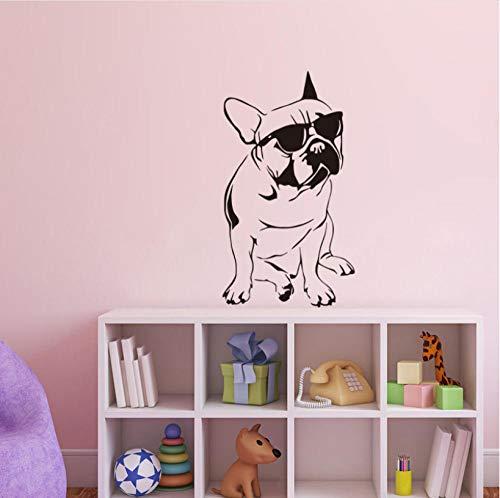 Kreative Wand Lustige Französisch Bulldog Decals Kinderzimmer Vinyl Wandaufkleber Hund Mit Sonnenbrille Nette Schlafzimmer Tapete Wohnkultur