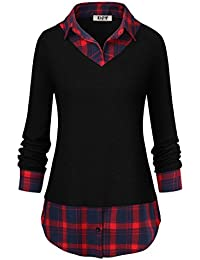 efbace672f85 DJT Femme T-Shirt a Carreaux 2 en 1 Manches Longues Pull Pull-Over