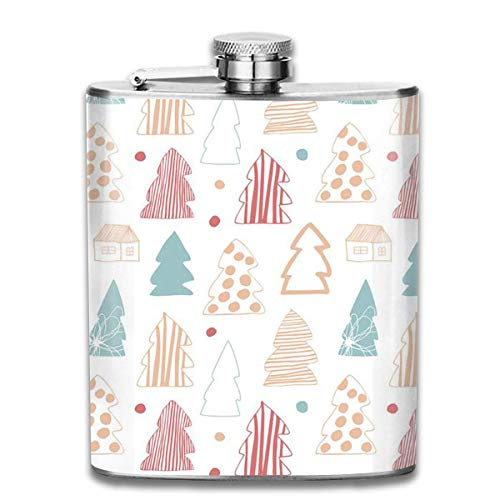 FGRYGF Pocket Container for Drinking Liquor, Cozy Winter 7 Oz Printed Stainless Steel Hip Flask for Drinking Liquor E.g. Whiskey, Rum, Scotch, Vodka Rust Great Gift Cozy Pocket