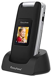 Easyfone Prime A1 3G Telefono Cellulare a Conchiglia per Anziani, Apparecchi Acustici Compatibili, Tasti Grandi, Facile da usare con SOS (nero)