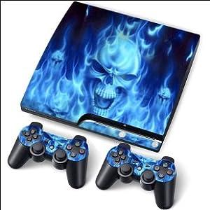 PS3 Slim PlayStation 3 Slim Skin Aufkleber PVC für Konsole + 2 Controller / Pads Schutzfolie Aufkleber Cover Art Leder Wirkung