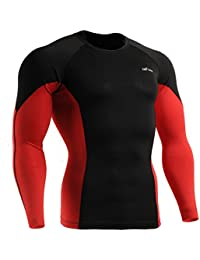 emFraa Homme Femme MMA Sport Compression Black Tight Baselayer Tee-Shirt Long sleeve S~2XL