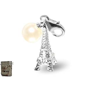Enez Echt 925 Silber Anhänger Charms Charm Eifelturm-Perle (1,9×0,9cm) + Geschenkbeutel v355