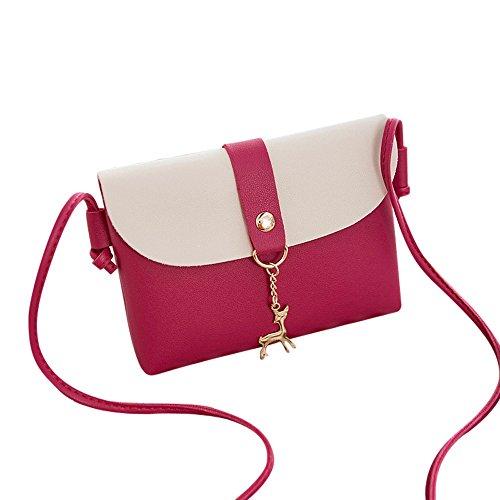 Damen Mini Kleine Leder Umhängetasche Hirsch Crossbody Frauen Retro Handtasche (B Pink)