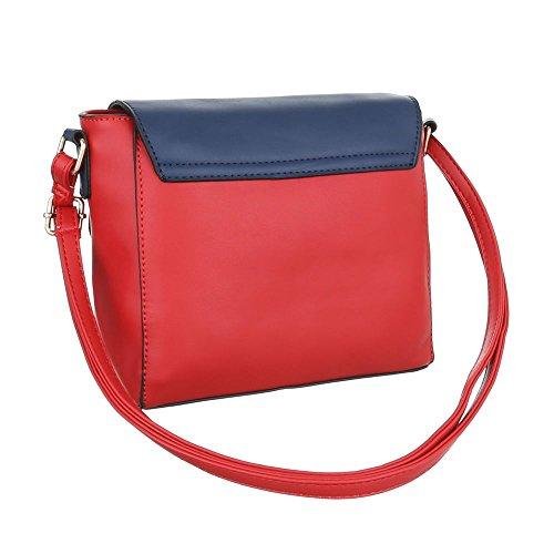 Ital-Design, Borsa a spalla donna blu rosso
