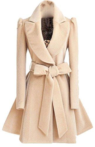 Brinny Trenchcoat Wintermantel Parka Mantel Collegejacke Damen Elegant Revers Lange Ärmel Einfarbig Herbst Winter, Khaki L