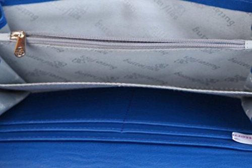Butterflies Frauen Fauxleder Cut-Arbeitshandtasche Reißverschluss Kupplung Brieftasche Blau