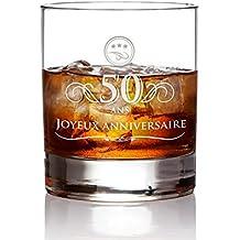 AMAVEL - Verre à Whisky avec élégante Gravure pour l anniversaire - 50 Ans - e3da468fd80