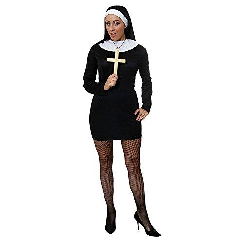 Sexy Nun Nonnen Kostüm (Schwarz) (Sexy Nonne Halloween Kostüme)