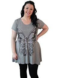Plus Size Short Sleeve Skull and Rose Tunic Top