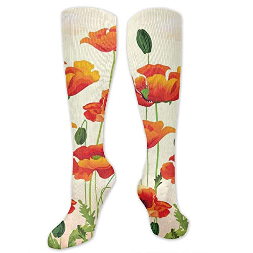 c Comfortable Knee High Length Tube Socks,Flower Bouquet With Coming Of The Spring Theme Nature Growth Arrangement,Compression Socks Boost Stamina,Cream Vermilion Green ()