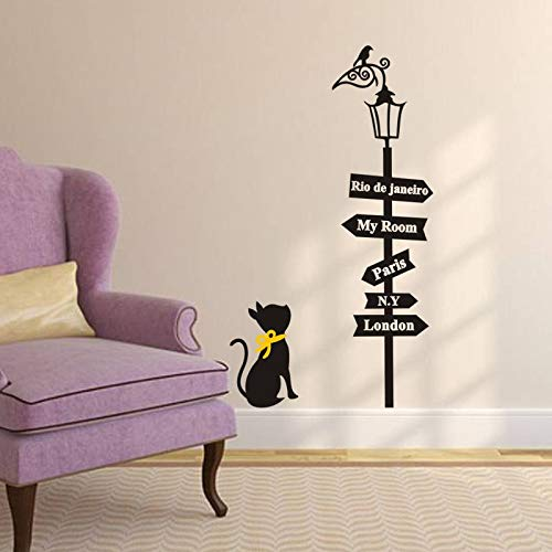 QIFDSVD Wandaufkleber Lamp Wall Sticker Cat Under The Lamp Wall Decals Children London Paris My Room Signs Decals Children Wall Mural Art Home Decor