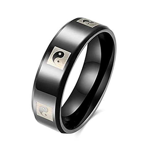 SanJiu Jewelry Men Wedding Engagement Rings Round Stainless Steel Ring with