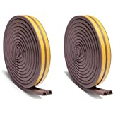 Chias Combo of 2 D Shaped (Brown) Self-Adhesive Epdm Doors and Windows Foam Seal Strip Rubber Weatherstrip 5 Meter (2 X 2.5 M