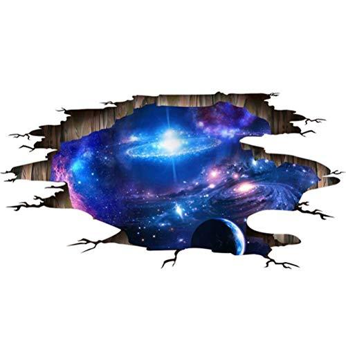 LAONA Autocollant 3D créatif (galaxie de l'univers)-salon bleu plancher plafond autocollants dortoir autocollant murale (60 * 90cm)