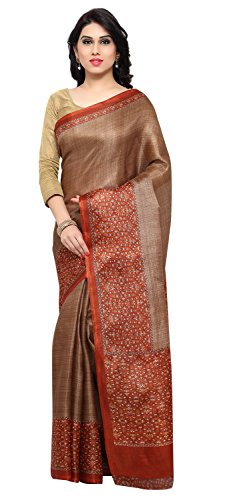 Rajnandini Women's Brown Tussar Silk Kalamkari Printed Saree