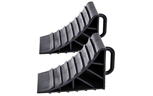 2x Unterlegkeil mit Griff Kunststoff schwarz Bremskeil Anhänger PKW Wohnmobil Wohnwagen