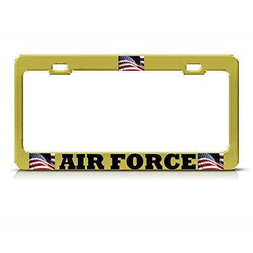 American Flag Air Force Kennzeichenrahmen Patriotische USA Gold Metall Tag Bordüre Perfekt für Männer Frauen Auto Garadge Decor -