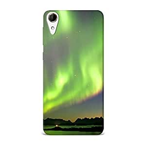 HTC 728 Case, HTC 728 Hard Protective SLIM Cover [Shock Resistant Hard Back Cover Case] for HTC 728 -Northern Lights Green Glow