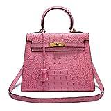 Neue Kelly Tasche 3D Krokoprägung geprägt Echtes Leder Handtaschen Mode Umhängetasche Diagonal Tasche Abend Paket Mummy Tasche (Pink, 28 * 22 * 13cm)