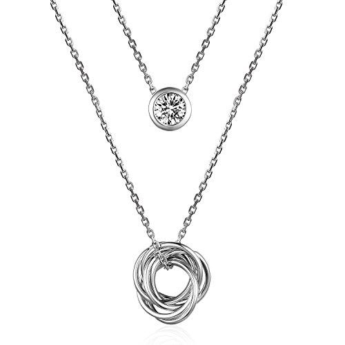 Silberfarbenes 925Sterling Silber Zirkonia Umschlungener Ringe und Diamant-Muster Anhänger Halskette, 43,2cm (Reine Diamant-muster)