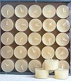 25 Stück Teelichter im Acryl Cup, 'Nightlights', Creme, bis zu 8 Stunden Brenndauer, transparenter Plastikhülle