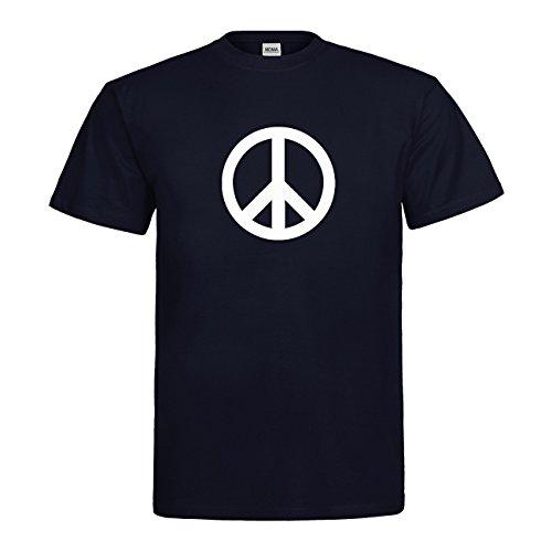 MDMA T-Shirt Peace Symbol N14-mdma-t00661-98 Textil navy / Motiv weiss Gr. L (Oldie Kostüm)