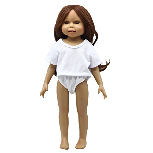 BZLine® Puppen Solid T-Shirt und Slip Set Kleidung für 18 Zoll Puppe Baby Kids Geschenke (Weiß) (18-zoll-puppe T-shirt)