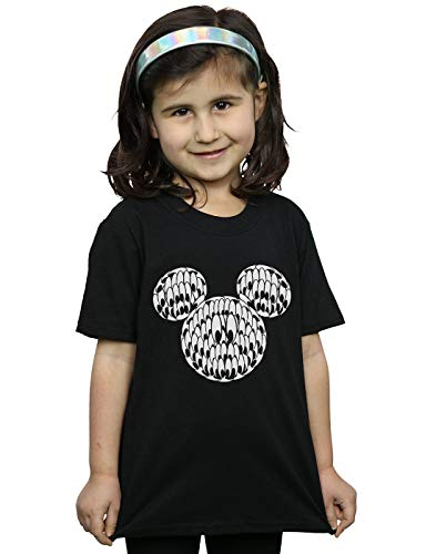 Disney Mädchen Mickey Mouse Head of Eyes T-Shirt Schwarz 9-11 Years
