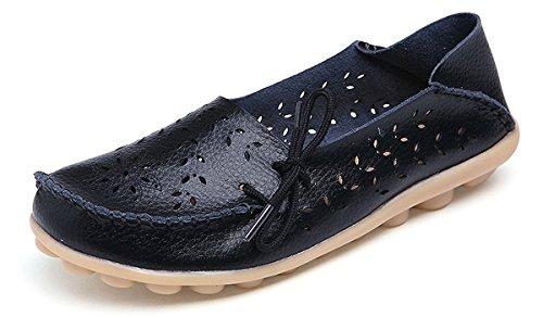 Eagsouni Damen Mokassins Bootsschuhe Leder Loafers Freizeit Schuhe Flache Fahren Halbschuhe Slippers Leder-schuhe, Slip-ons