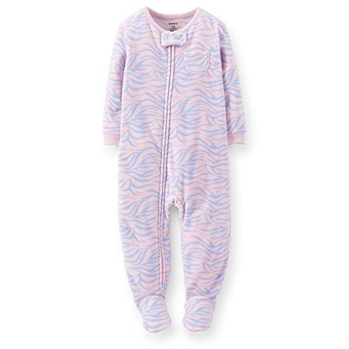 Carters Baby Girls 1 Piece Fleece Footed Sleeper - Pink Blue - Zebra (18 Month) (Pink-footed Sleeper)