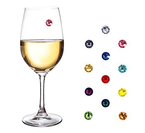 Glasmarkierer aus edlen Swarovski Kristallen - 12-teiliges-Set - Party Deko - Ideal um Ihre Gläser einzigartig und unverwechselbar zu schmücken