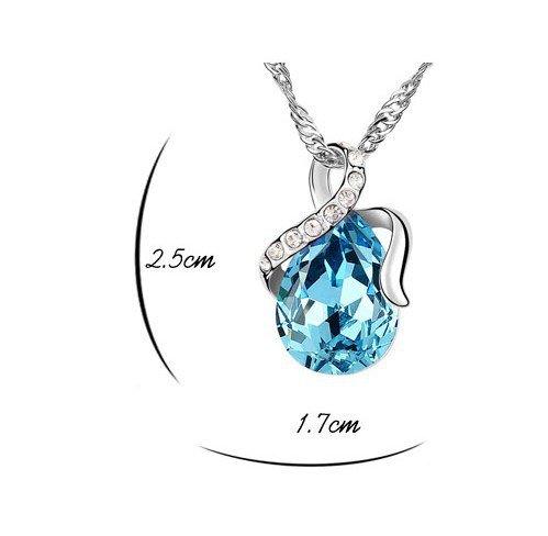 Argento Blu Oceano Angelo goccia collana amore eterno Ciondolo in cristallo a goccia Swarovski Elements Collana per le donne