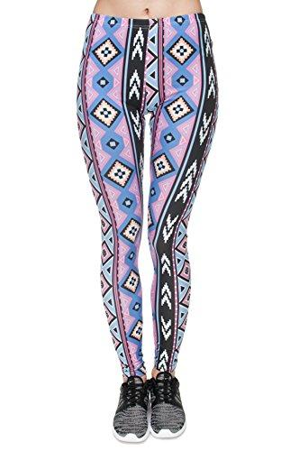 Bunte Damen Leggings Hose Einheitsgröße S-L | Mädchen Leggins bedruckt in verschiedenen Muster | Yoga Pants High Waist auch als Sporthose für Workout Aztec Fiolet