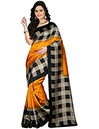 Roop Craft Women's Art Mysore Checks Printed Silk Saree(Checks_RCS_239_Yellow)