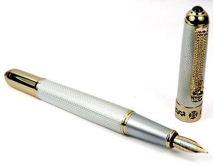 Deluxe Gold Silber Dragon M Feder Füllfederhalter seltene Geschenk