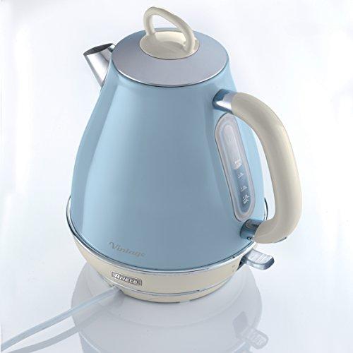 comprare on line Ariete 2869 Bollitore Elettrico Vintage, Acciaio Inox, 1,7 L, Autospegnimento, 2000 W, per Acqua, Tè e Tisane, Azzurro Pastello
