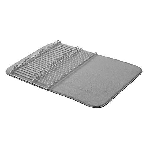 AmazonBasics Grand égouttoir - 47,7 x 60,9cm - Gris anthracite/Nickel, avec 2 tapis