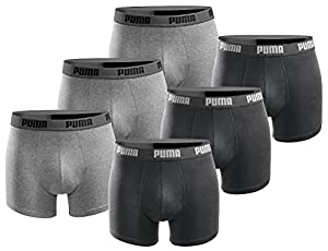 PUMA Herren Boxershort Basic Limited Black Edition 6er Pack - Black and Grey - Gr. M