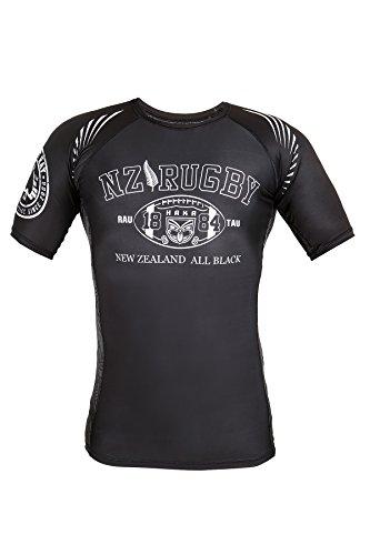 Dirty Ray Rugby New Zealand All Black Kompressions Kurzarm Rashguard T-Shirt RG9 (XXL) -