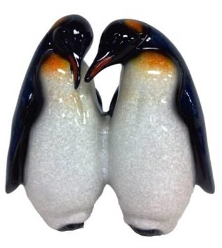 yx7644F 5Glasiert Pinguin Paar in Love weiß Statue Figur